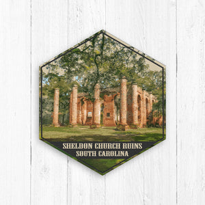 Sheldon Church South Carolina Hexagon Illustration by Printed Marketplace