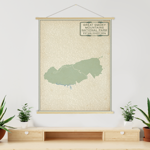 Hanging Canvas Map of Great Smoky Mountains by Printed Marketplace