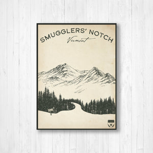 Smugglers' Notch Vermont Ski Resort Sketch Print