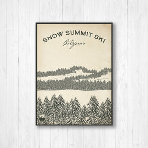 Snow Summit Ski Resort Sketch Print