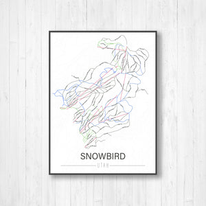 Snowbird Utah Ski Trail Map by Printed Marketplace