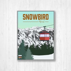 Snowbird Utah Ski Resort Hanging Canvas Illustration by Printed Marketplace