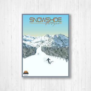 Snowshoe West Virginia Modern Illustration Print by Printed Marketplace