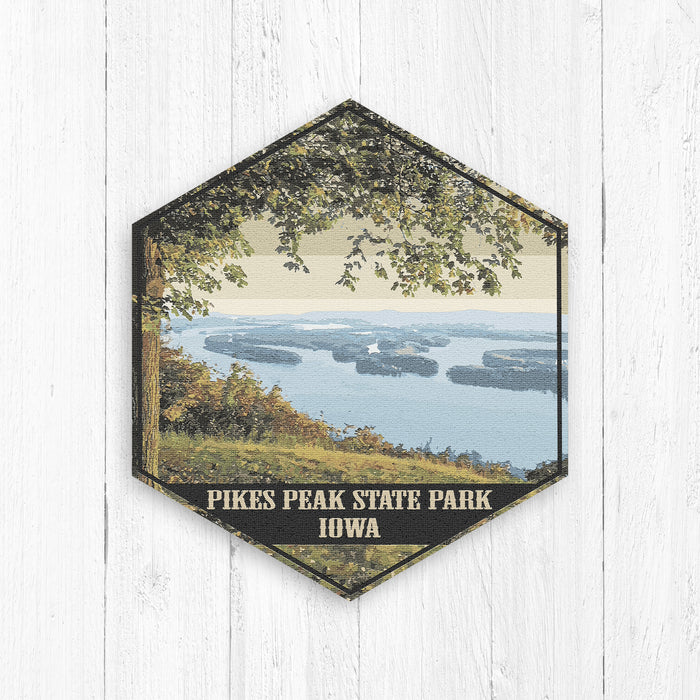 Pikes Peak State Park Iowa Hexagon Illustration Print