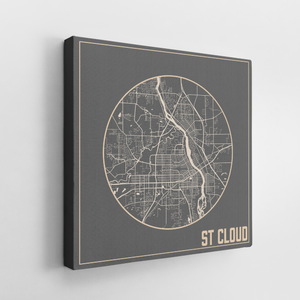 St Cloud Minnesota City Street Map Print | Hanging Canvas