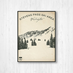 Stevens Pass Washington Ski Resort Sketch Print