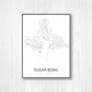 Sugar Bowl California Ski Trail Map by Printed Marketplace