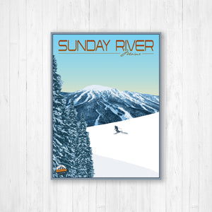 Sunday River Maine Modern Illustration Print by Printed Marketplace