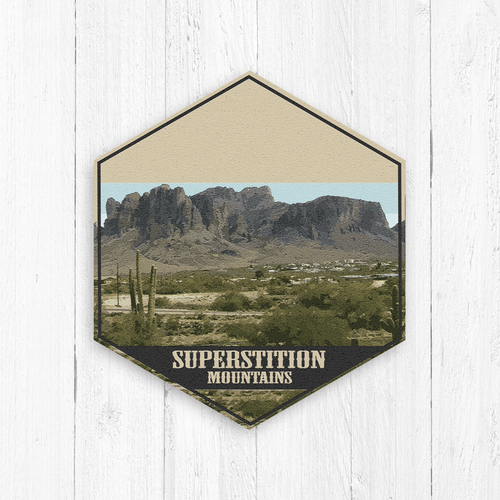 Superstition Mountains Arizona Hexagon Illustration Canvas