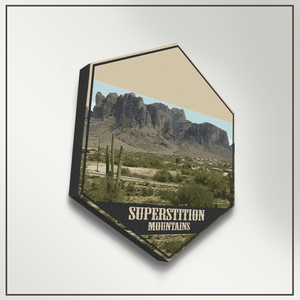 Superstition Mountains Arizona Hexagon Canvas