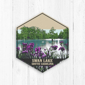 Swan Lake South Carolina Hexagon Illustration Print