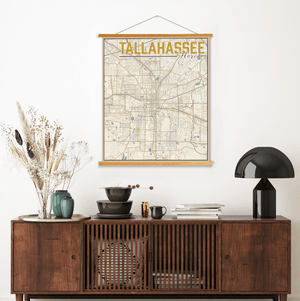 Tallahassee Florida Street Map | Hanging Canvas Map of Tallahassee | Printed Marketplace