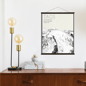 Taos Ski Resort Sketched Illustration Print