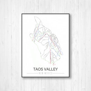 Taos Valley New Mexico Ski Trail Map by Printed Marketplace