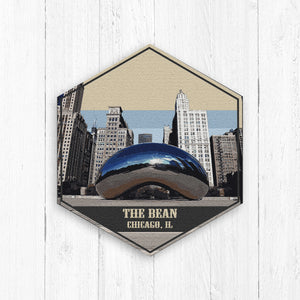 The Bean Illinois Hexagon Illustration
