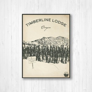 Timberline Ski Resort Sketch Print