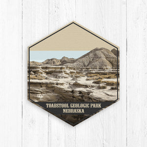 Toadstool Geologic Park Nebraska Hexagon Illustration by Printed Marketplace