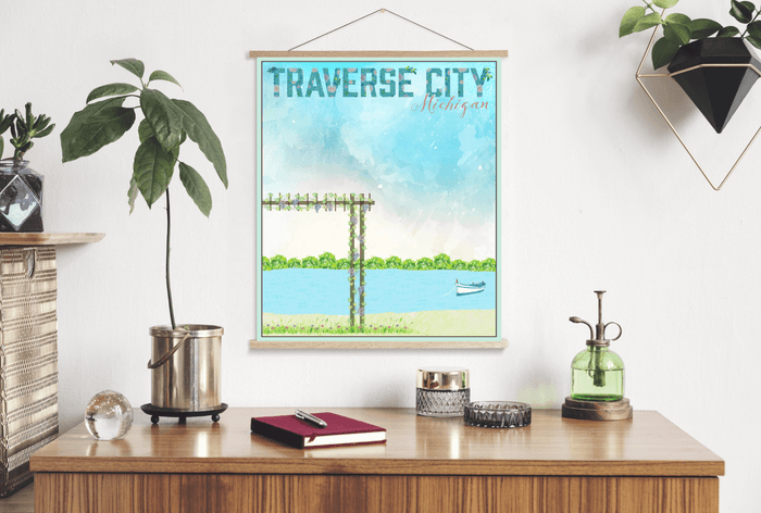 Traverse City Michigan Watercolor Illustration