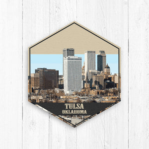 Tulsa Oklahoma Hexagon Canvas Illustration