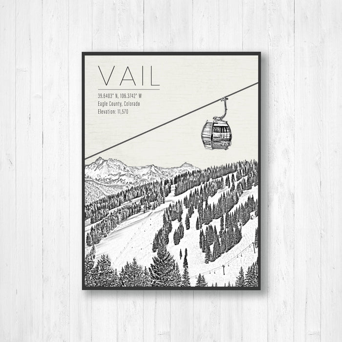Vail Colorado Ski Resort Illustration Print