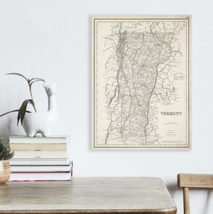Vermont Vintage State Map Print | Vermont Canvas Map Art | Printed Marketplace