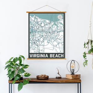 Virginia Beach Street Map | Hanging Canvas Map of Virginia Beach | Printed Marketplace