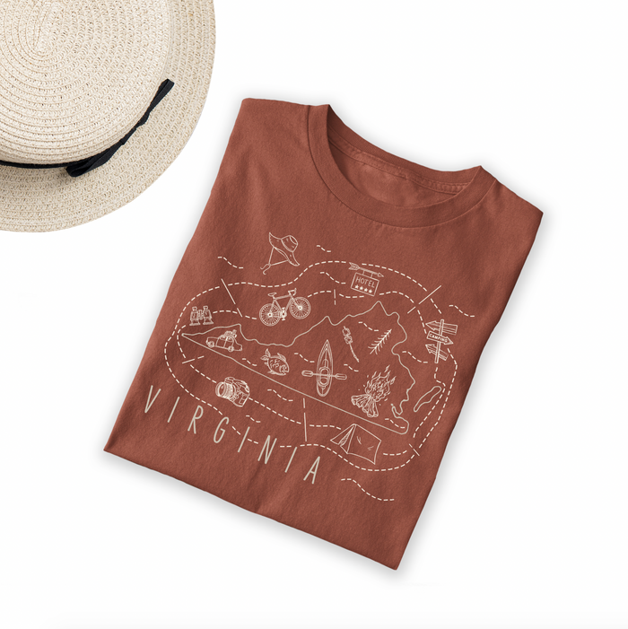 Illustrated Virginia Shirt By Printed Marketplace