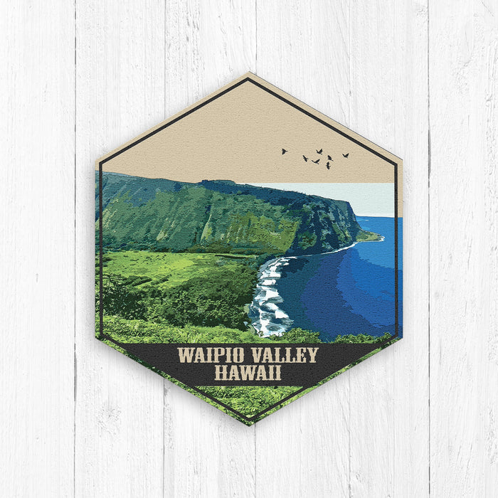 Waipio Valley Hawaii Hexagon Illustration