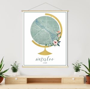 Waterloo Iowa Street Map Watercolor Map | Hanging Canvas | Printed Marketplace