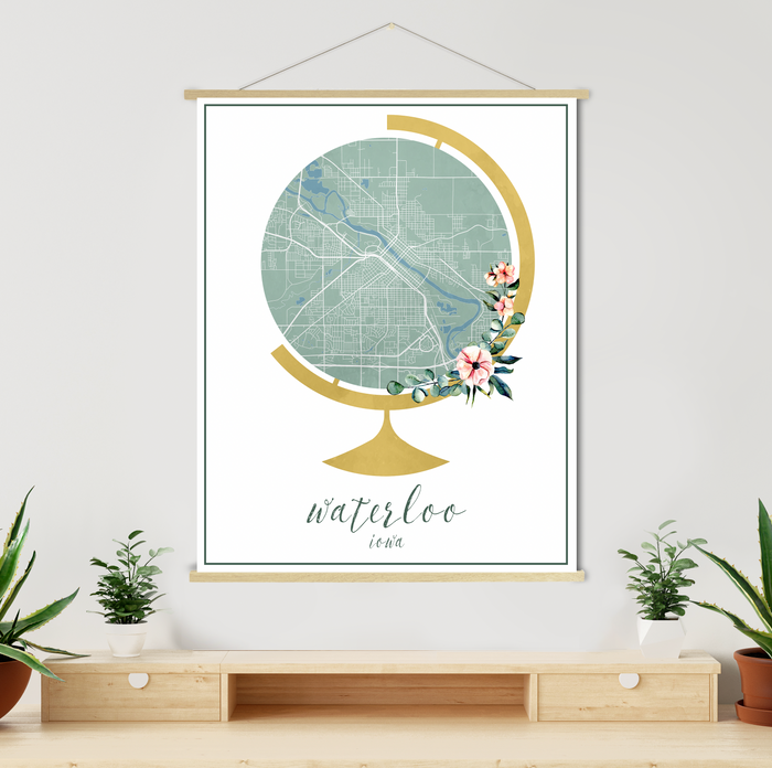 Waterloo Iowa Street Map Watercolor Print