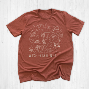 Illustrated West Virginia Shirt By Printed Marketplace
