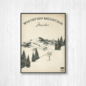 Whitefish Ski Resort Sketch Print