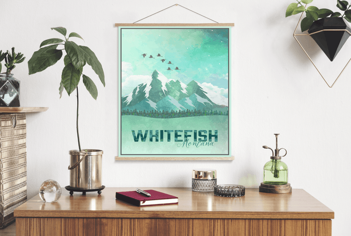 Whitefish Montana Watercolor Illustration Print