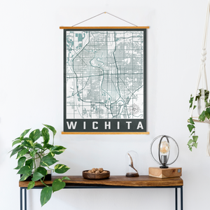 Wichita Street Map | Hanging Canvas Map of Wichita | Printed Marketplace