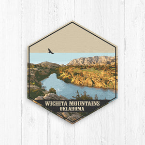 Wichita Mountains Oklahoma Hexagon Canvas Illustration