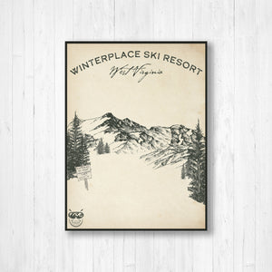 Winterplace West Virginia Ski Resort Sketch Print