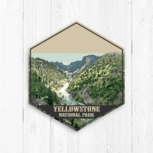 Yellowstone National Park Hexagon Canvas Illustration