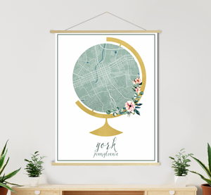 York Pennsylvania City Street Map Print  | Hanging Canvas