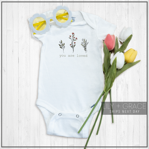You Are Loved Floral Onesie® | Printed Marketplace | Lily + Grace Kids