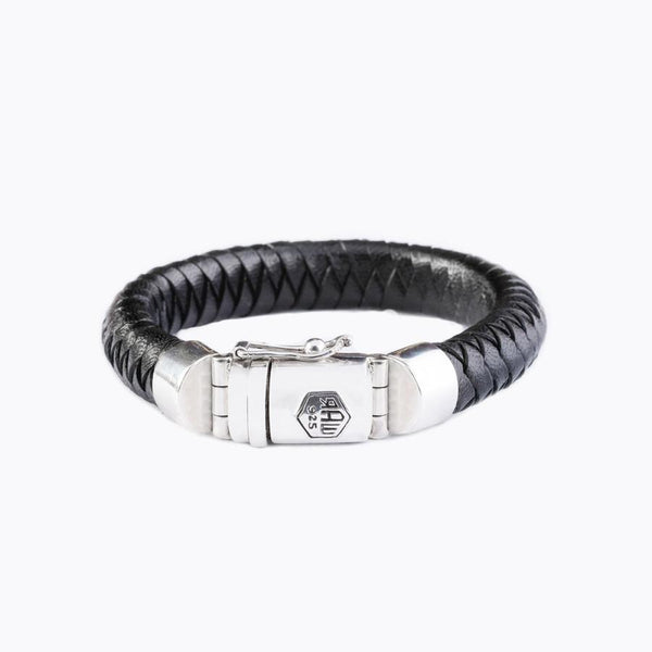 black braided leather bracelet raw-925
