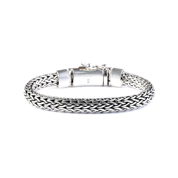 woven 925 sterling silver chain bracelet with onyx stone