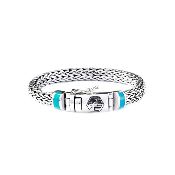 woven 925 sterling silver chain bracelet with turquoise stone