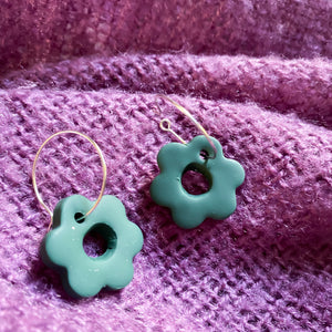 Forest Green Flower Hoop Earrings