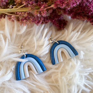 Blue Rainbow Stud Earrings