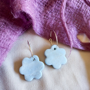 Blue Ice Flower Hoop Earrings