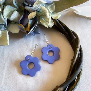 Slate Blue Flower Hoop Earrings