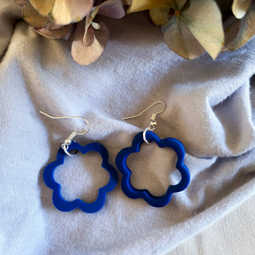 Navy Cut Out Dangle Earrings