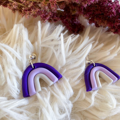 Purple Rainbow Stud Earrings