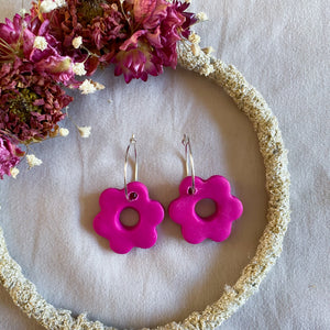 Magenta Flower Hoop Earrings