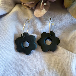 Ebony Flower Hoop Earrings